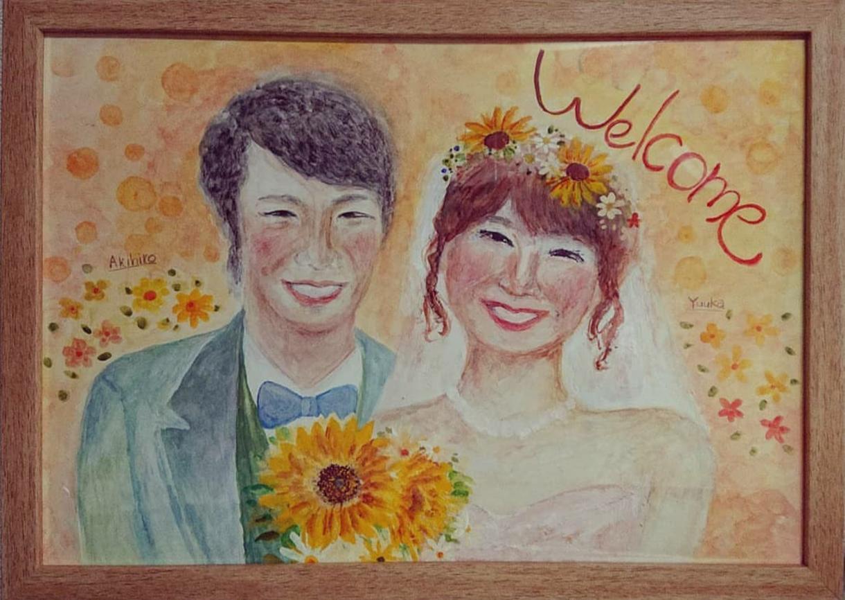 手描きで、ウェルカムボード描きます 優しい雰囲気の温かみのある似顔絵をしあげます。