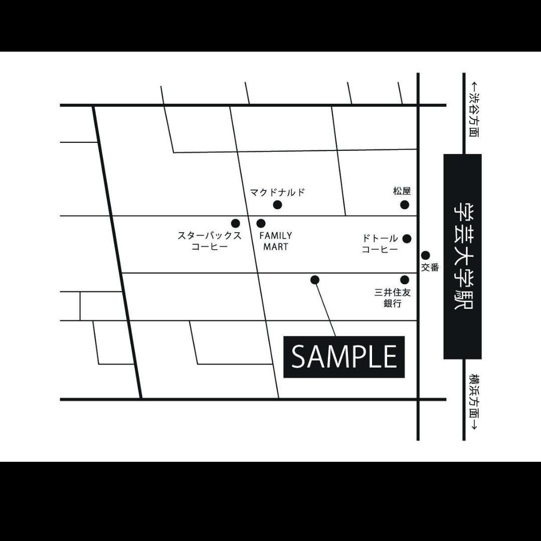 モノトーンでオシャレな雰囲気の地図を制作しますます プロデザイナーがお客様にも伝わる地図をデザインします
