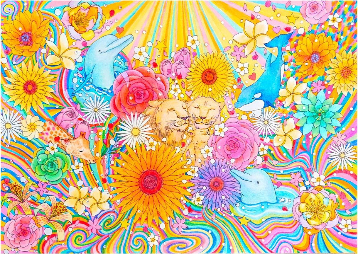 手描きで動物と花を使用したイラストを描いています イメージで動物と花を使ってカラフルに仕上げます。 イメージ1