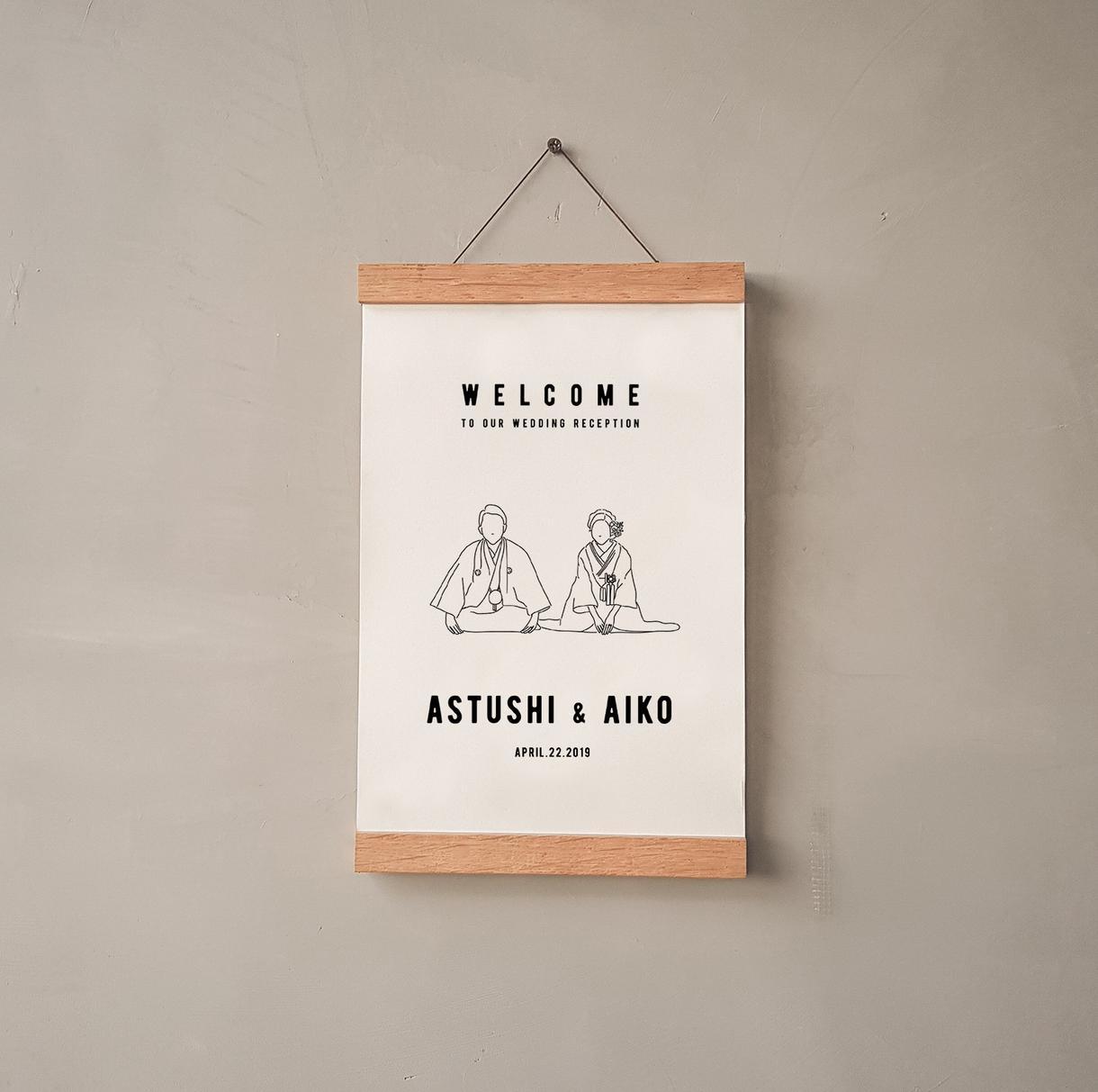 写真を元にシンプルなウェルカムボードを制作します 結婚式後も部屋にお洒落に飾れます♪
