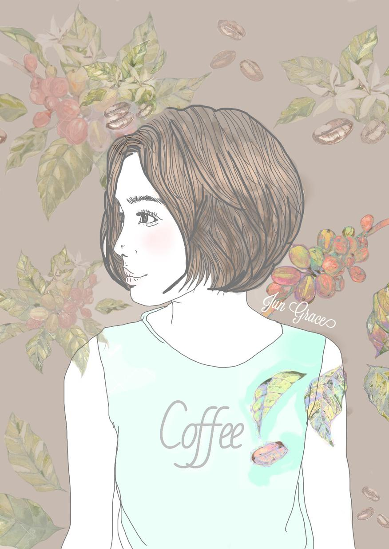 Coffee好きな方へ似顔絵作ります 白黒、ふんわり系、加工の似顔絵三枚セットで大変お得です!