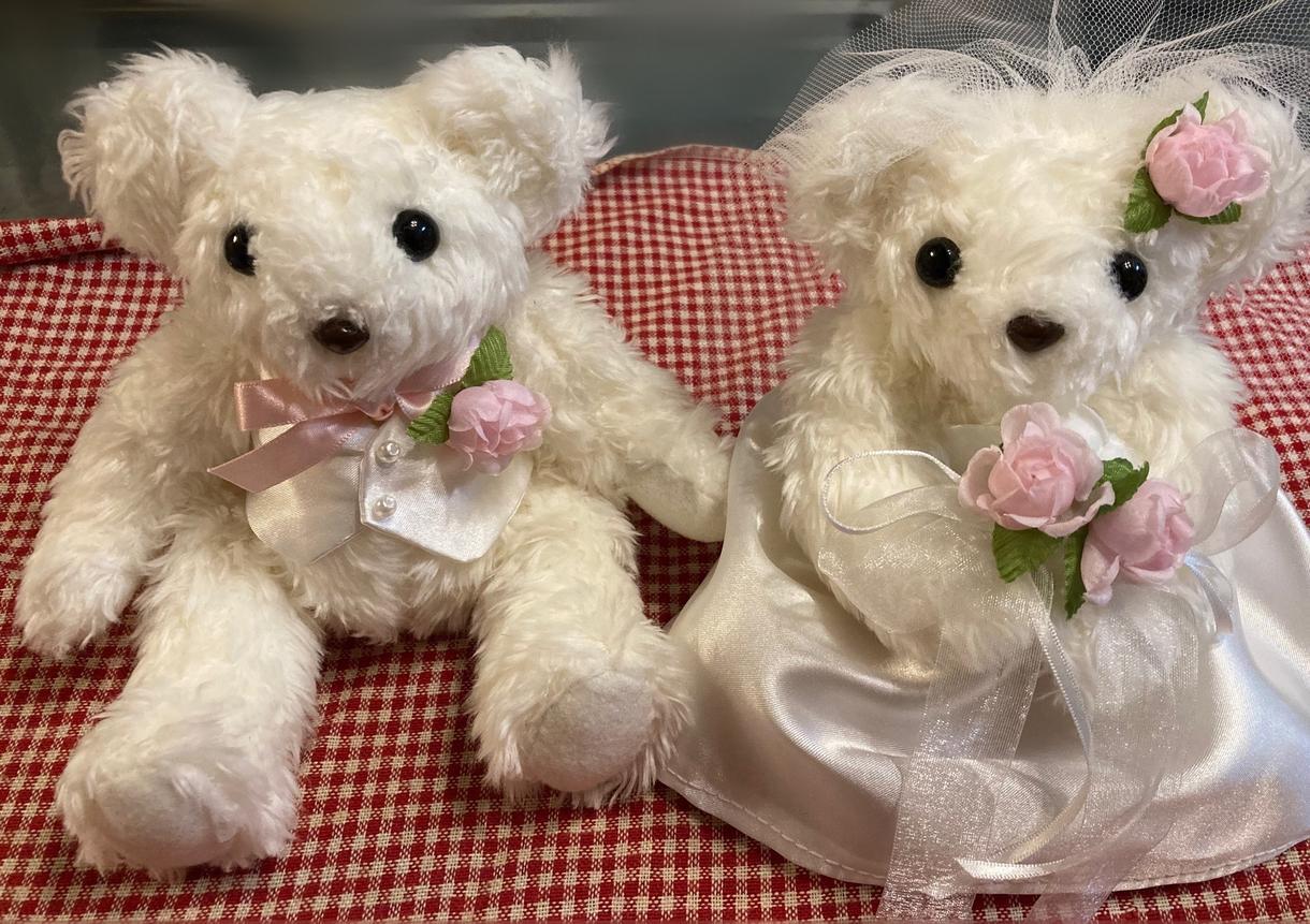 ウエディングベア/リングピローの裁縫代行します ご友人のご結婚祝いに、ご自身の結婚式のウエルカムベアとして イメージ1