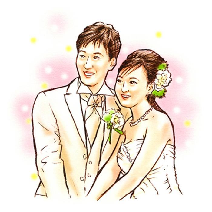 パステルスケッチ風の似顔絵を制作します 結婚式や、お祝いの際のプレゼント用などに ご活用ください。