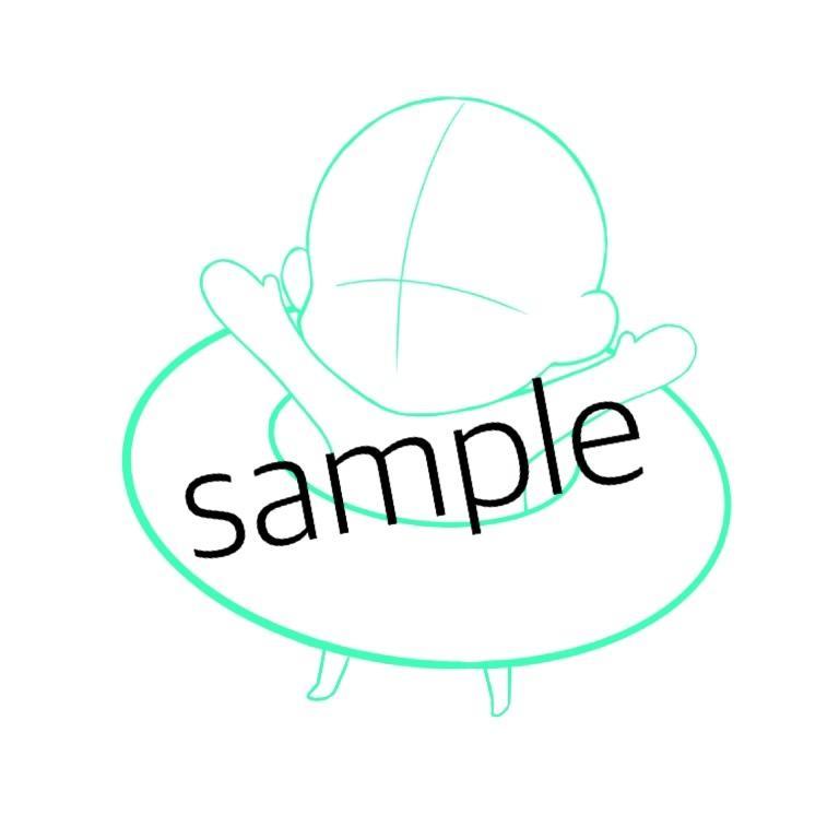 ドーナツor浮き輪に入った可愛いイラスト描きます Twitter、LINEなどのアイコンにどうですか??