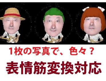 写真から面白い最新技術デジタル似顔絵作成します 最先端3Dにて表情変換を計算して作成します。