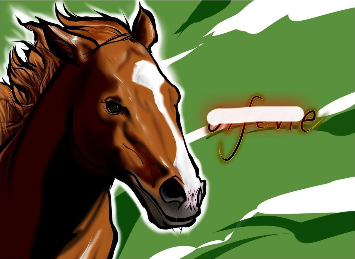 馬の絵描きます 競馬の横断幕や、SNSのアイコンに!