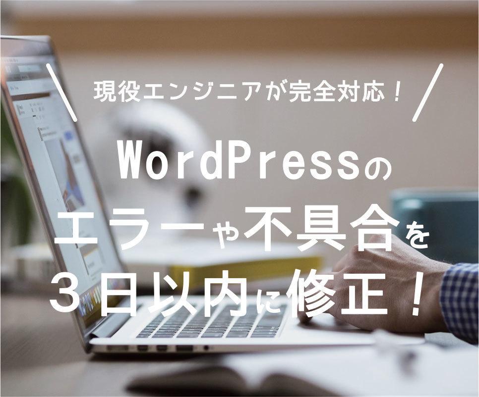 WordPressのエラー・不具合・バグ修正します 【3日以内に復旧できない場合は全額返金】現役エンジニアが対応