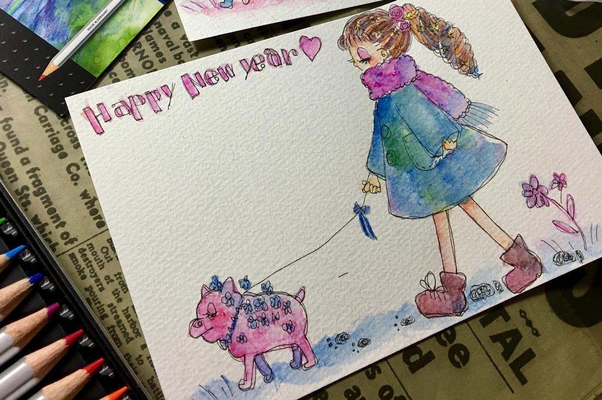 完成早め◆年賀状用のオリジナルイラスト描きます イラストレーターがあなただけの年賀状をデザインします