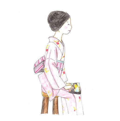 商用可・着物美人画イラスト 手描き水彩で作成します 誌面やDM、ポスター、お店のPR、プレゼントに