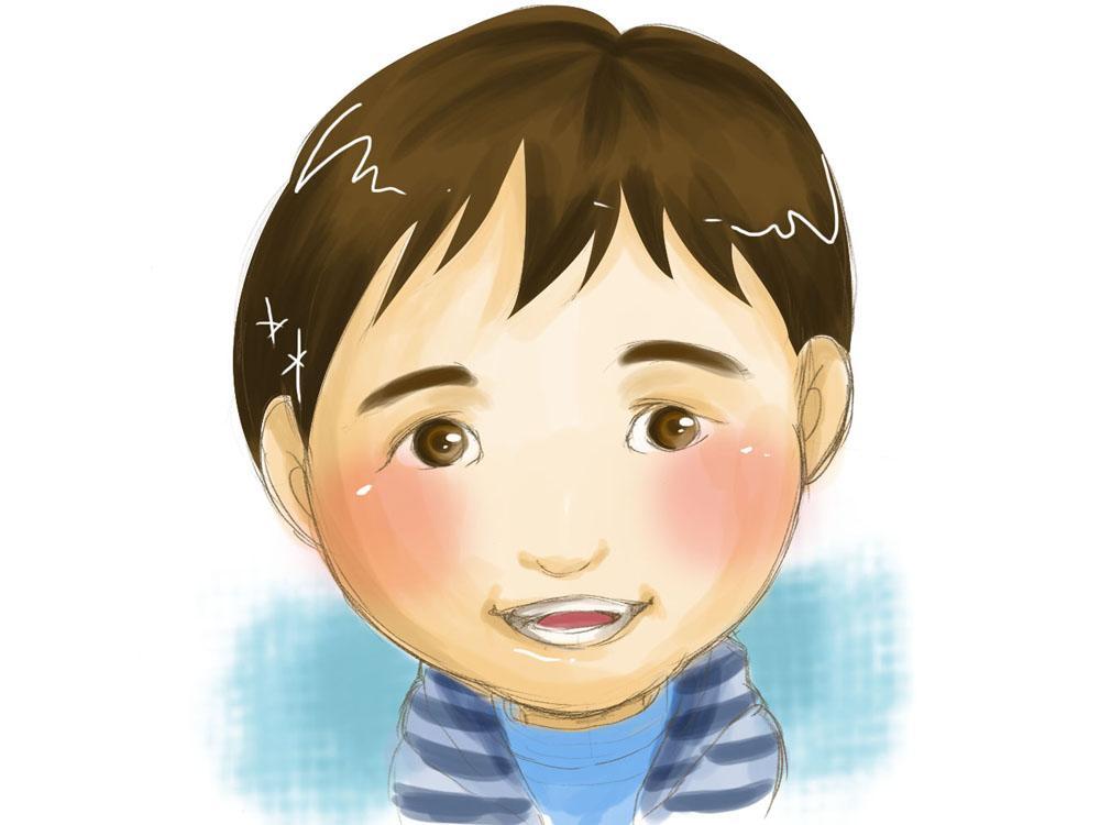 手描き風のあたたかみを残した似顔絵を描きます お子様の成長記録として似顔絵はいかがですか?