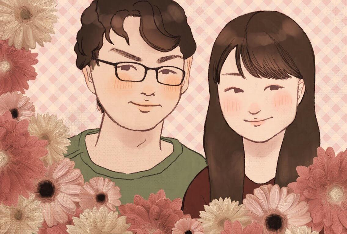 カップルの似顔絵を描きます 記念日や結婚のお祝いにオススメです!