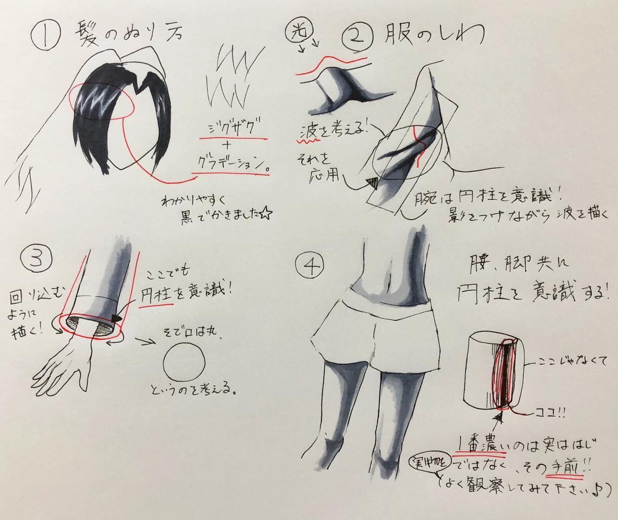 学生必見!格安でコピックイラスト添削致します デッサンの経験から人物の色塗りについてアドバイスします!