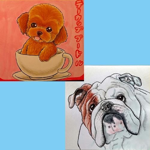 ペット&動物の似顔絵を写真からお描きします ペットや動物をお写真から水彩画で可愛くお描きいたします!