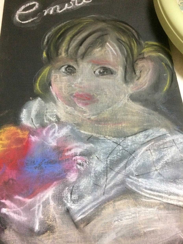 初めて黒板アート挑戦してみました。ます 子供の似顔絵欲しい方に依頼して欲しいです。