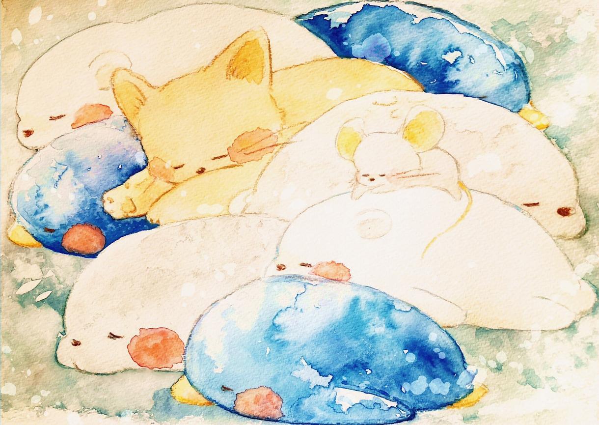 手描きで水彩イラストを描き、データ納品します 手書き感の伝わる色彩鮮やかなイラスト描きます!