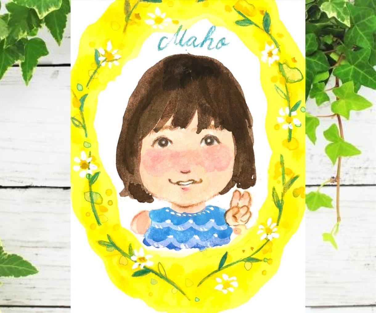 現物発送✳︎水彩のリース似顔絵をお描きします 送料無料・はがきサイズ・プレゼントに最適です♪ イメージ1