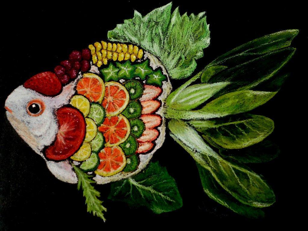 動物をデフォルメした絵をチョークアートで描きます 動物とスィーツ・フラワー・フルーツ等とのコラボ