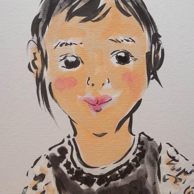 写実と違う「あたたかさ」のある似顔絵をお描きします お子様や可愛いワンちゃん、猫ちゃんの記念に。白黒写真からも。