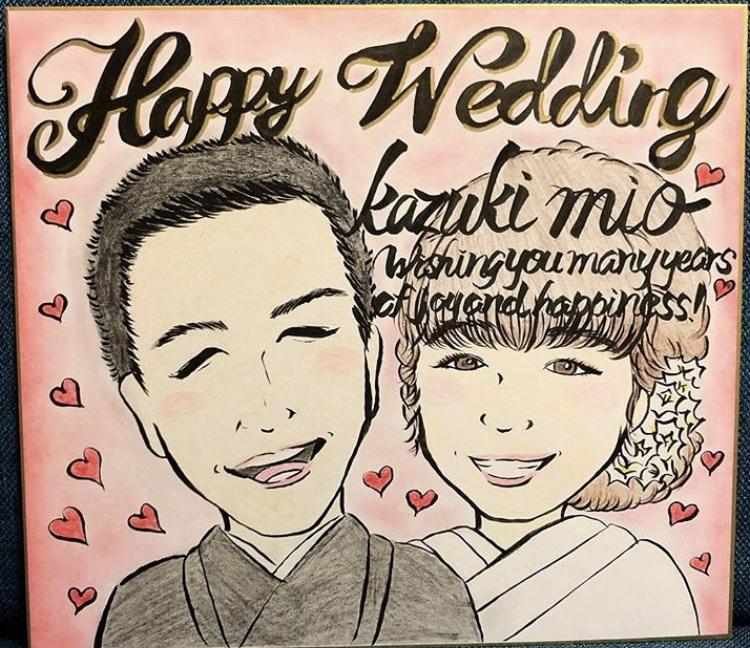 新郎新婦やカップルの似顔絵を色紙にかきます 一律3500円♪価格増額一切なし!可愛く仕上げます☆