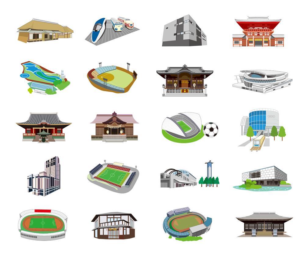 建物のイラスト・アイコン制作します 納期1~3日、迅速に対応します! イメージ1