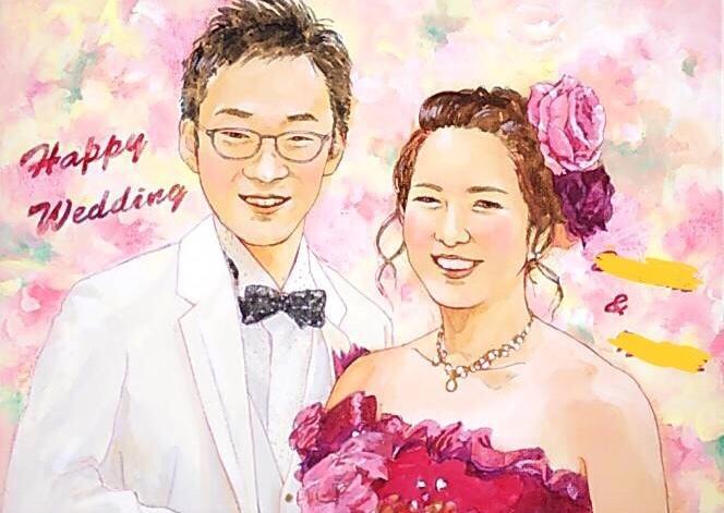 結婚式用のウェルカムボードを制作します 美大出身(日本画専攻)の確かな技術で本格的な作品に仕上げます