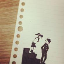 かわいいカップルのイラストを描きます。