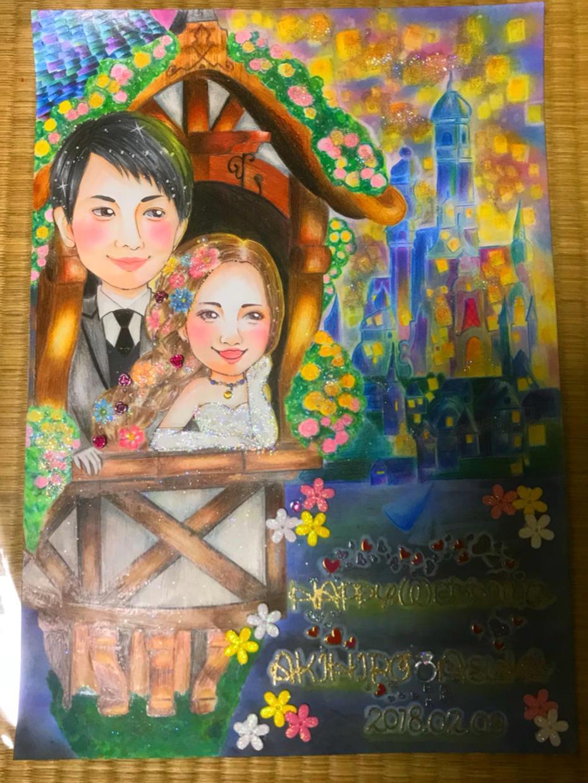 A3サイズのキラキラなウェルカムボード作成します 結婚式や入籍の記念に!!ずっと飾っておける似顔絵です