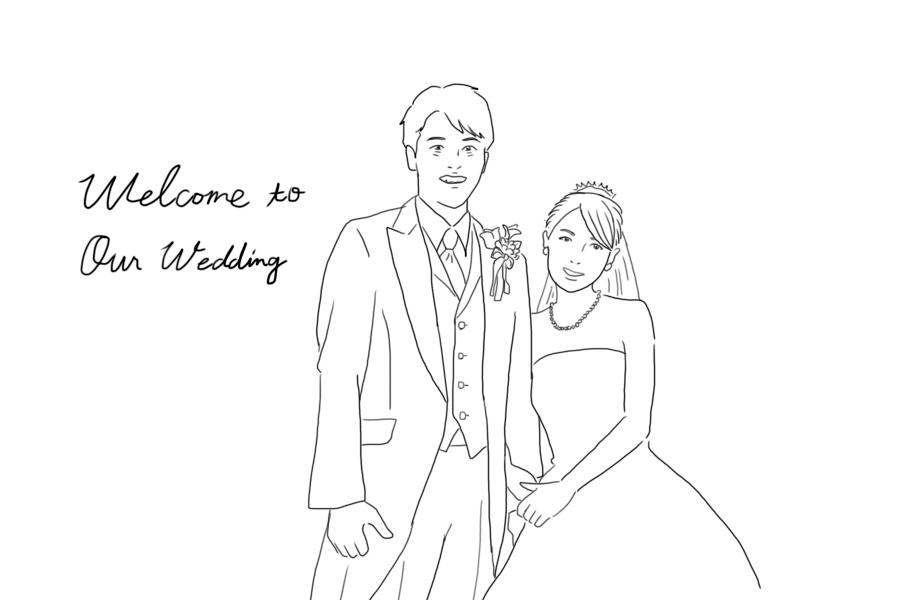 シンプル線画とふんわり色付き2枚のイラスト描きます 写真を元に描きます!結婚式ウェルカムボードやプレゼントに。