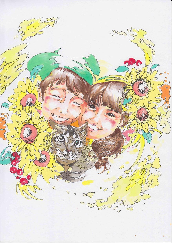花付き似顔絵描きます ハガキサイズ花、文字付き無料
