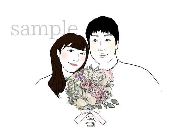 シンプルイラストとドライフラワー描きます 人×ドライフラワーで結婚式やプレゼント、ステッカーなどに