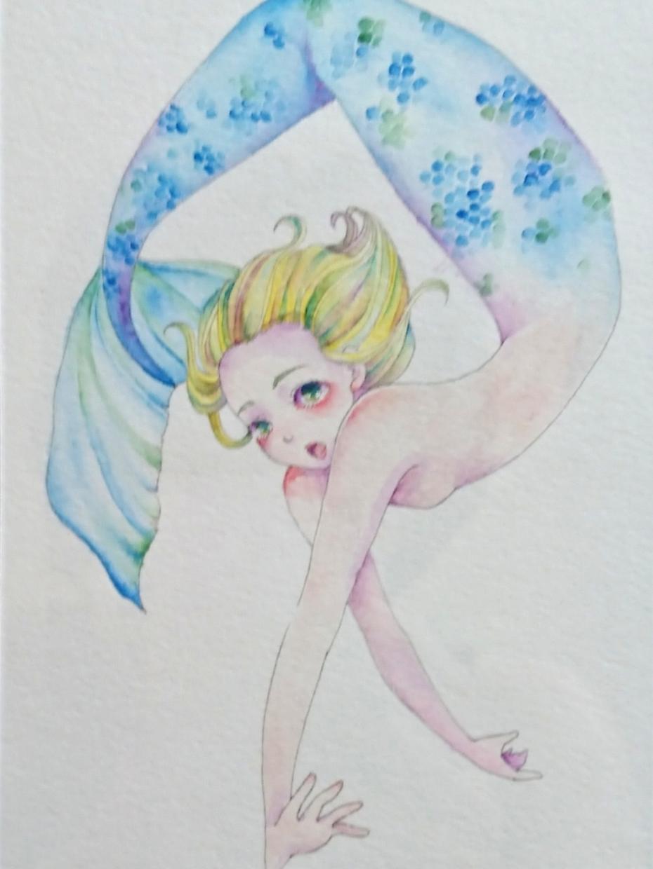 郵送可能✱水彩人魚描きます 淡く美しい人魚をあなたのもとへ