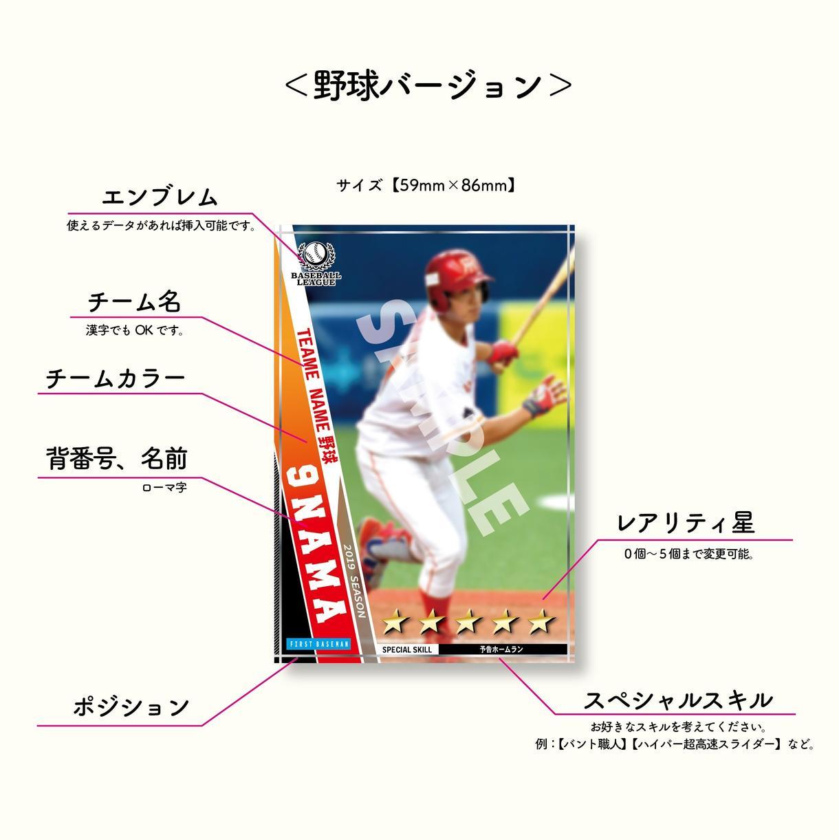 オリジナルトレーディングカードのデザイン制作します (サッカー、野球、バスケット、バレー、ラグビーetc.)