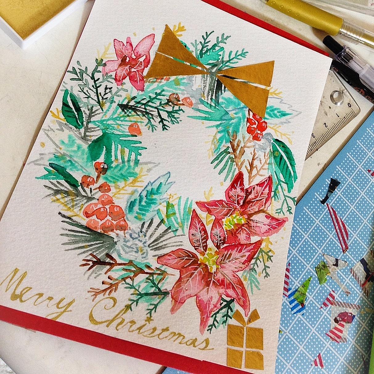 主に水彩を使ってポストカードを制作します 水彩、ペン、マステ、折り紙を使って作ります。