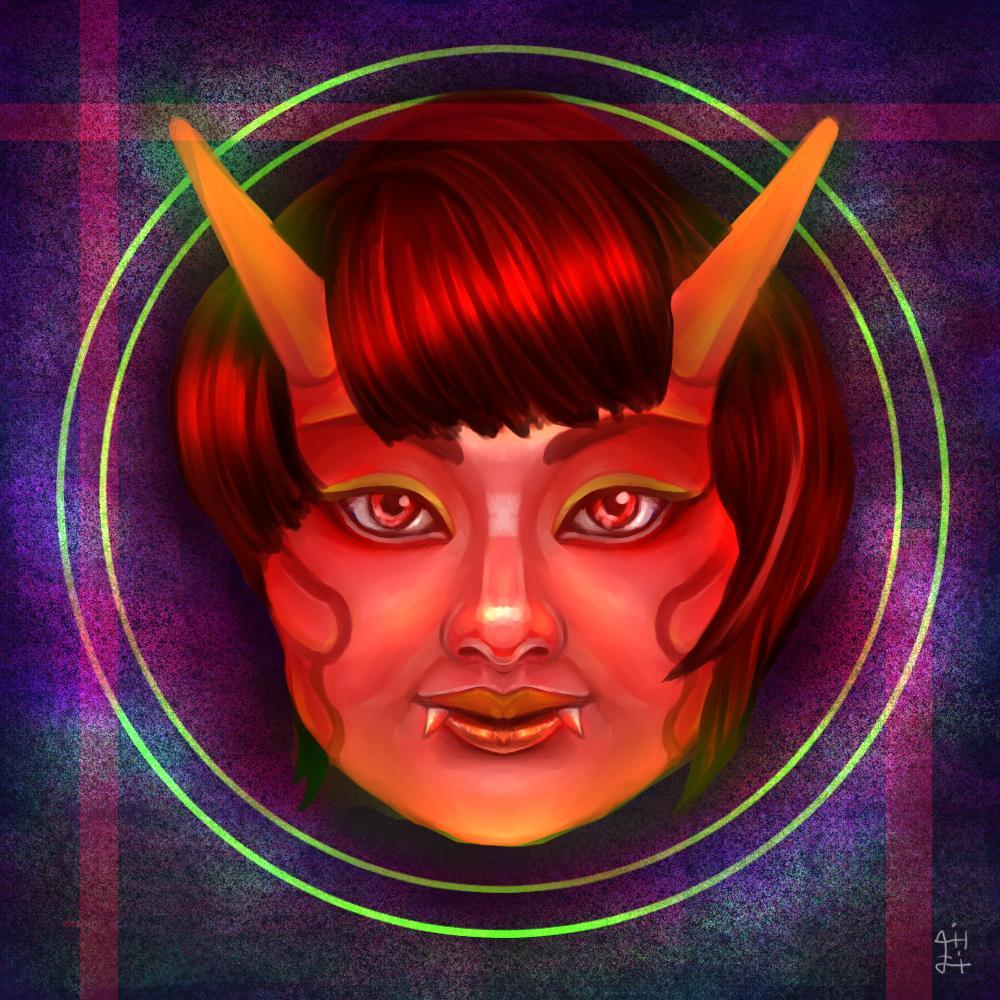 リアルで不思議な鬼の似顔絵を描きます (名刺、SNSアイコンへのご利用もご自由にできます)