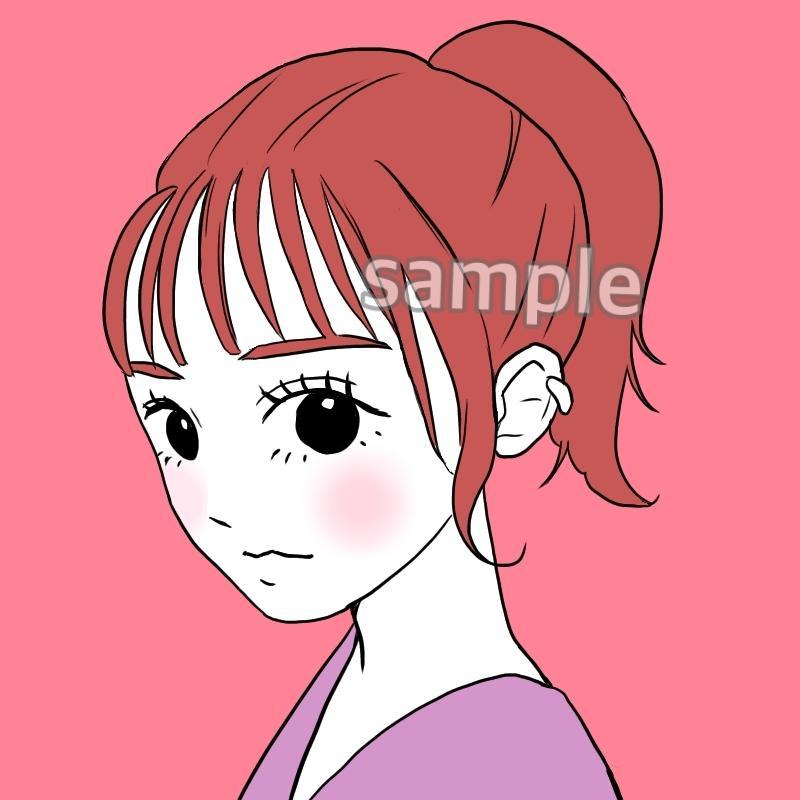 パッと目を惹く*シンプルだけど可愛い似顔絵描きます SNSアイコン等にオススメのイラスト♪頬カラー無料! イメージ1
