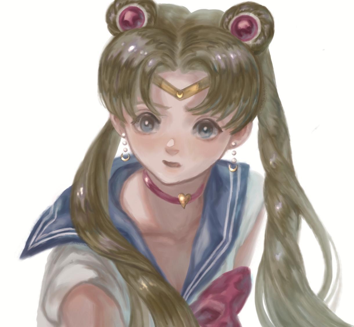 女の子のイラスト描きます 髪の毛と目がキラキラな女の子です。 イメージ1