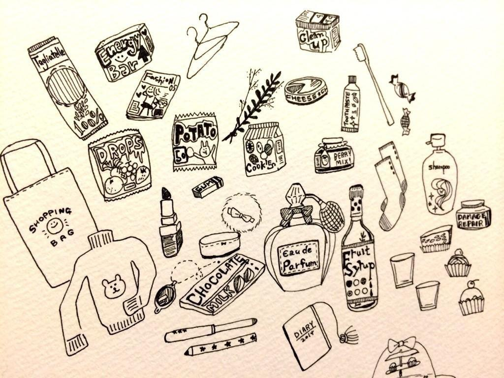 SNS・ブログのヘッダー描きます 好きな小物を並べるイメージで♪