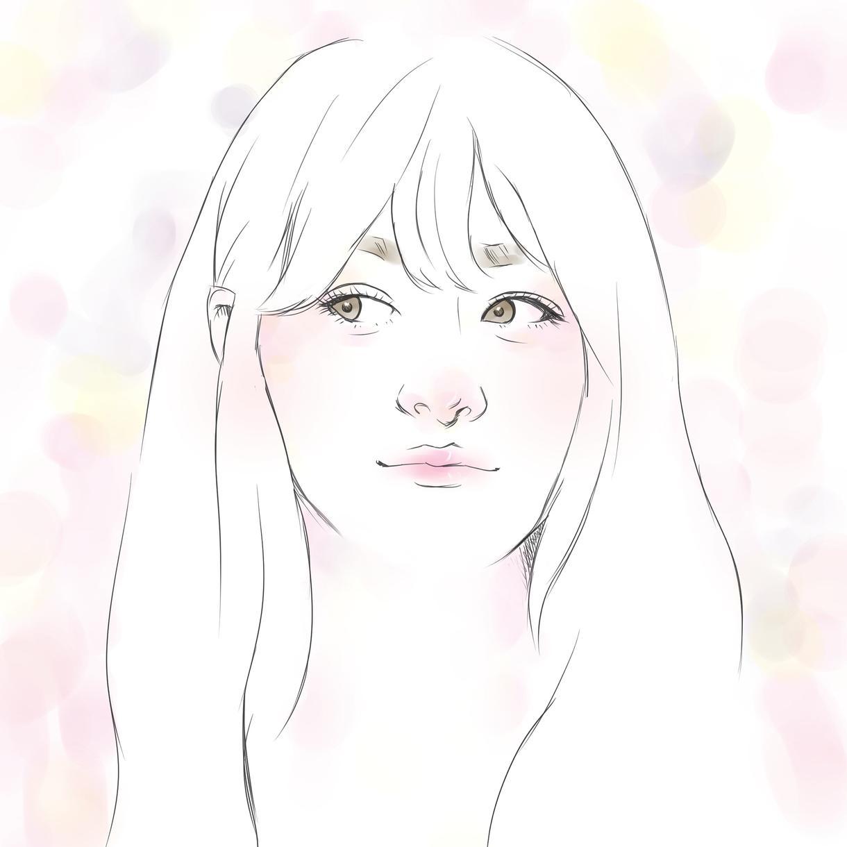 水彩風のアイコン似顔絵イラスト作成します ちょっぴりオシャレで可愛らしい似顔絵はいかがですか?