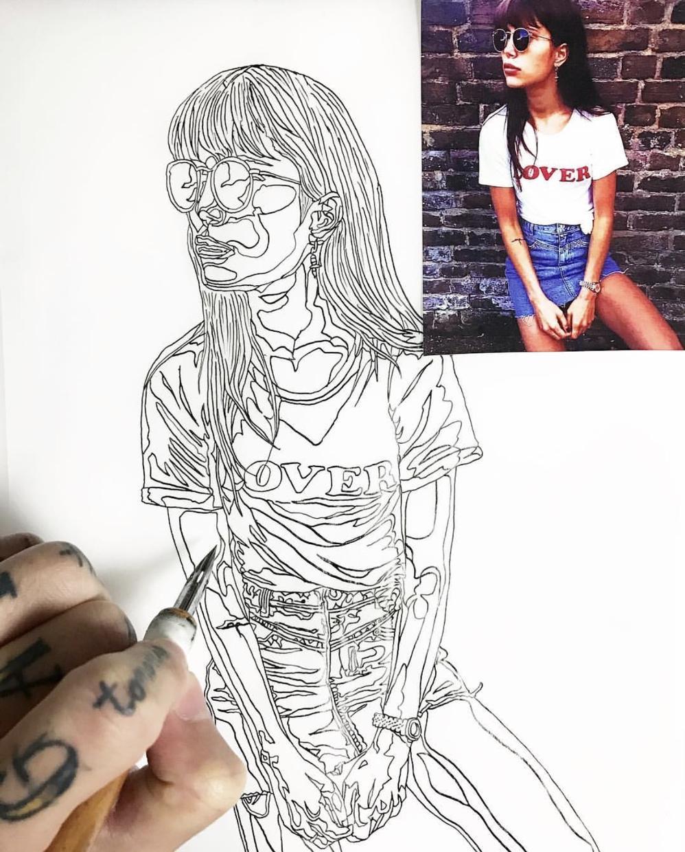 写真を頂いて手描きでトレースし絵にします SNSのプロフィール画像等様々な用途で使えます。