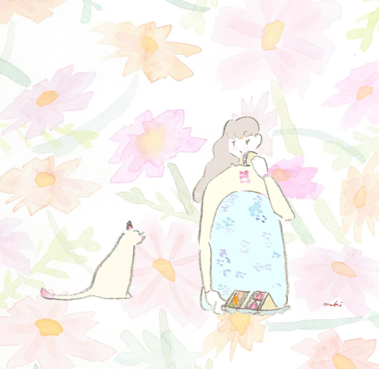 ナチュラル水彩♡イラスト描きます 透明水彩×色えんぴつ♡優しくてかわいいオリジナルイラスト