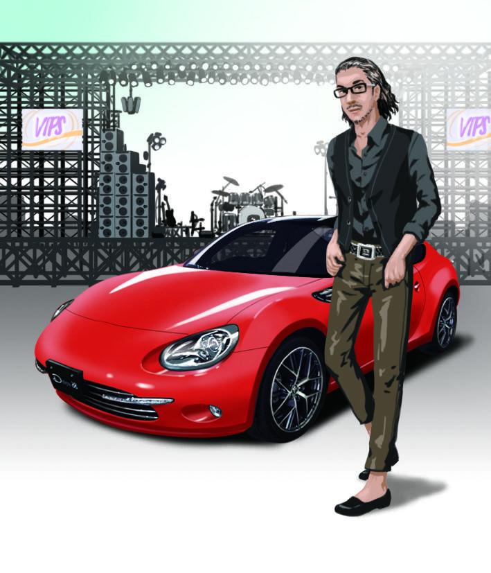 愛車とオーナー様の2ショットを絵にします 人生を共に過ごす愛車と貴方を素敵なイメージの肖像画に。