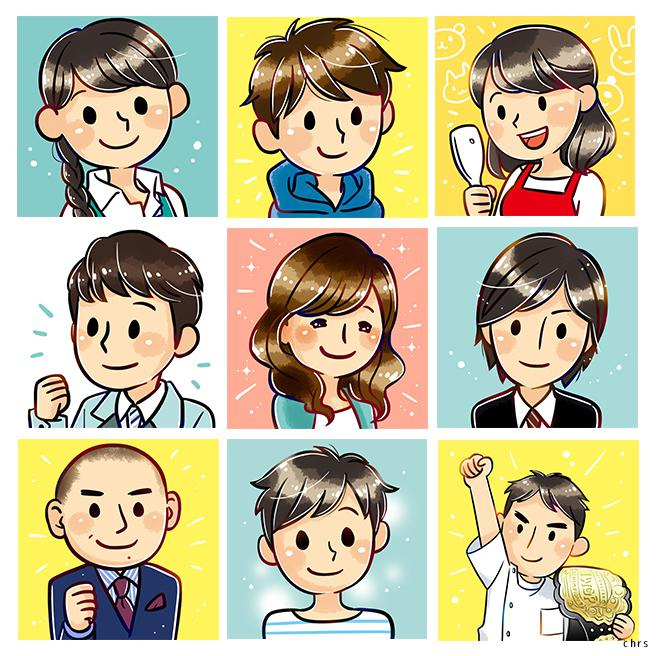 男性でも使いやすいSNS等のアイコンお描きします SNSに、ブログに、プレゼントに!プロの描くアイコンを♪