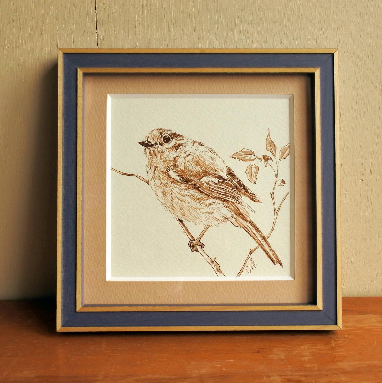 鳥をペンとインクで手描きします 飼っている鳥、野鳥の絵をオフィスやリビングに
