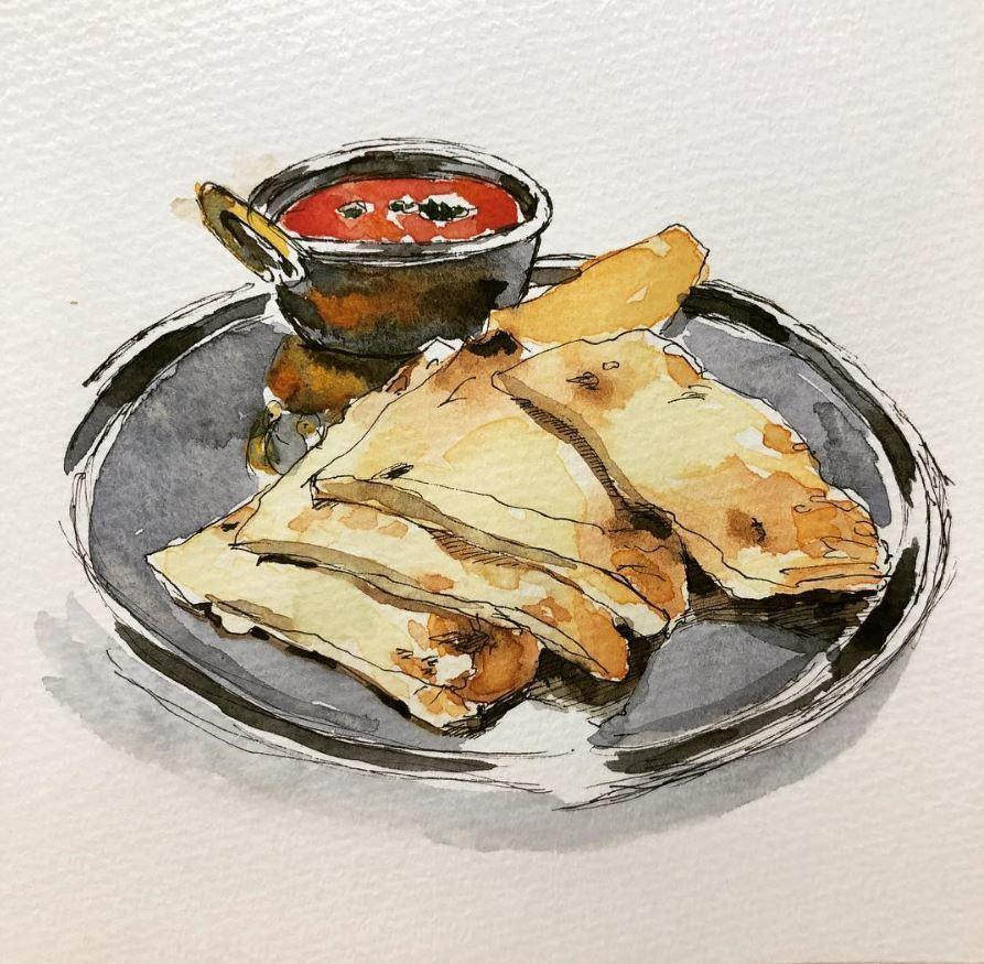 雑誌、ウェブ、メニューに載せる食べ物を描きます 飲食店のメニュー、レシピ―、カードに載せる手描き風イラスト