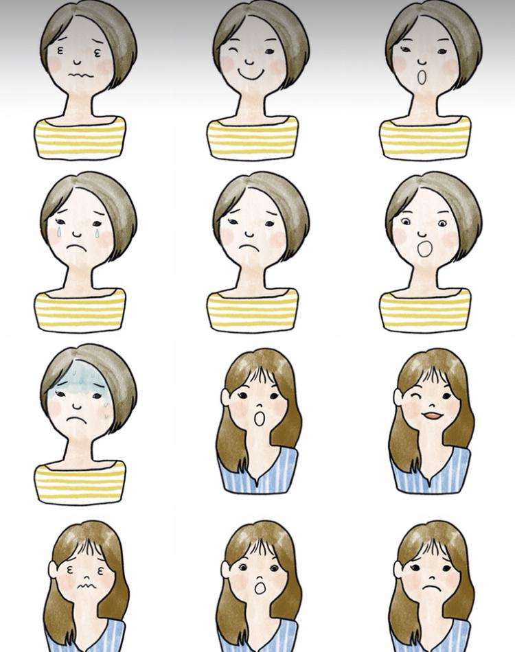 ブログ用アイコ作成します 手描きタッチのアイコン+表情別のカット イメージ1