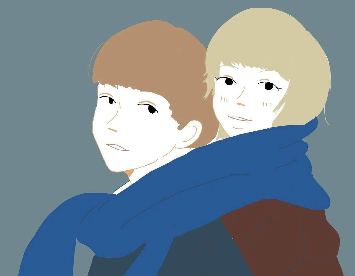 お写真をもとにイラスト描きます カップルや仲良しのお友達のお写真をイラストに⁂