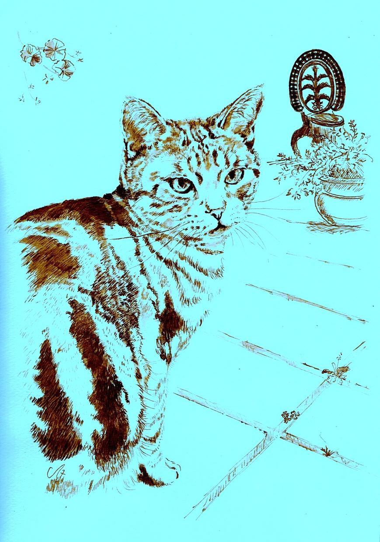 ペットの肖像画A4、ペンとインクで手描きします シンプルなペットの絵を。犬、ネコ、鳥、小動物や大型動物全般