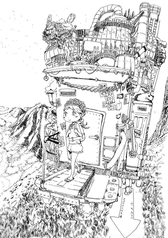 描き込みを重視モノクロイラスト原画をお渡しします 「おんなのこや植物などを描き込みます」データの納品も可能です