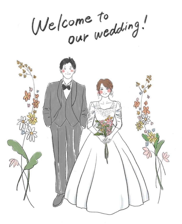 かわいいおしゃれなウェルカムボード描きます 夫婦の雰囲気が伝わるイラストにしたい方へ♪ イメージ1