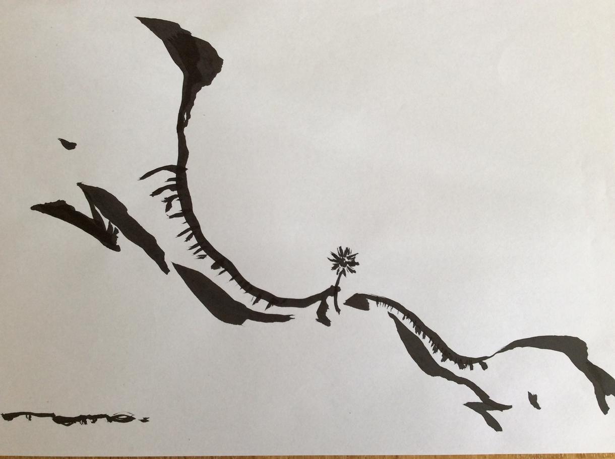 筆描きのゆるーい墨絵イラスト描きます 和のテイストでおしゃれに似顔絵など